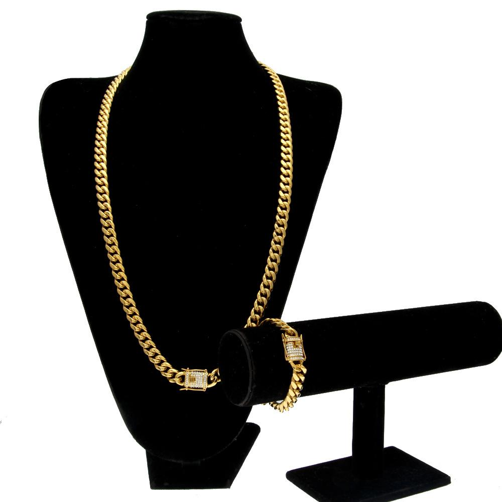 High Quality Fashion Design Cuban Chain Hip Hop Necklaces and Bracelets Luxury 18K Gold Plated Hiphop Jewelries Sets