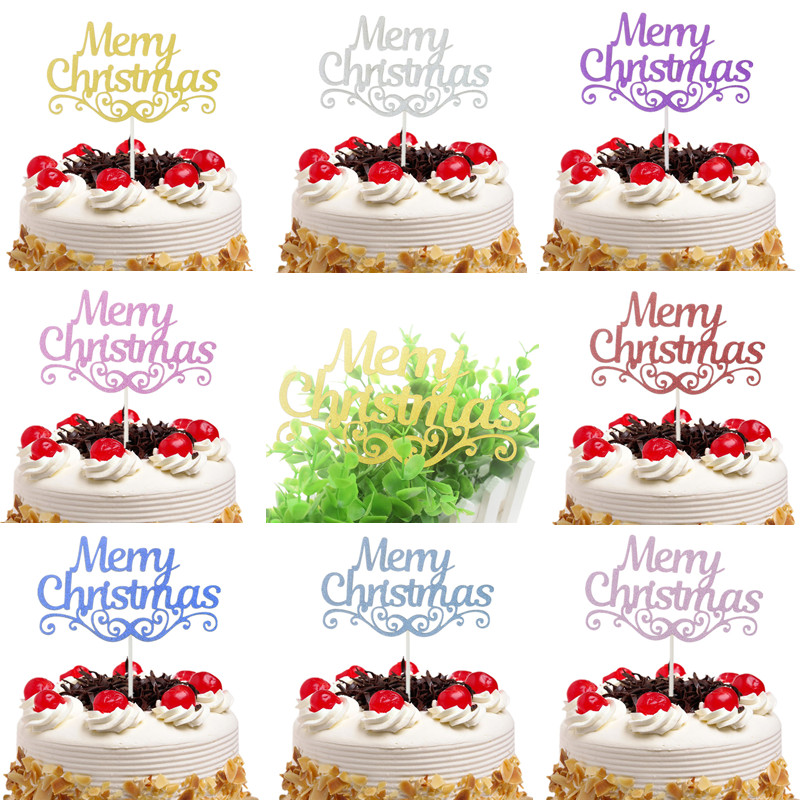 Christmas Cake Toppers.2018 Merry Christmas Cake Toppers Flags Kids Happy Birthday Glitter Cupcake Topper Wedding Baby Shower Party Diy Baking From Chengdaphone06 Price