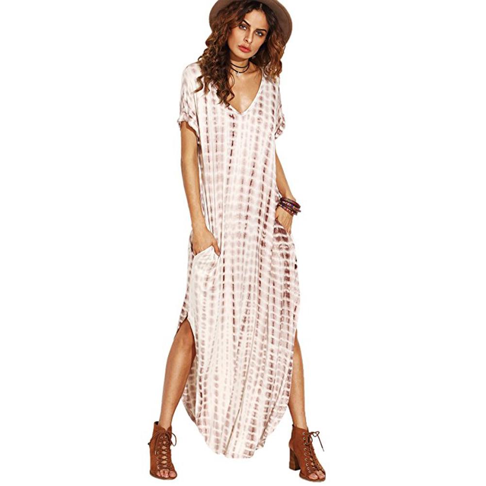 Damen Mode Rundhals Halbarm Side Split Lässig Plain Lang Maxi Kleid Sommerkleid