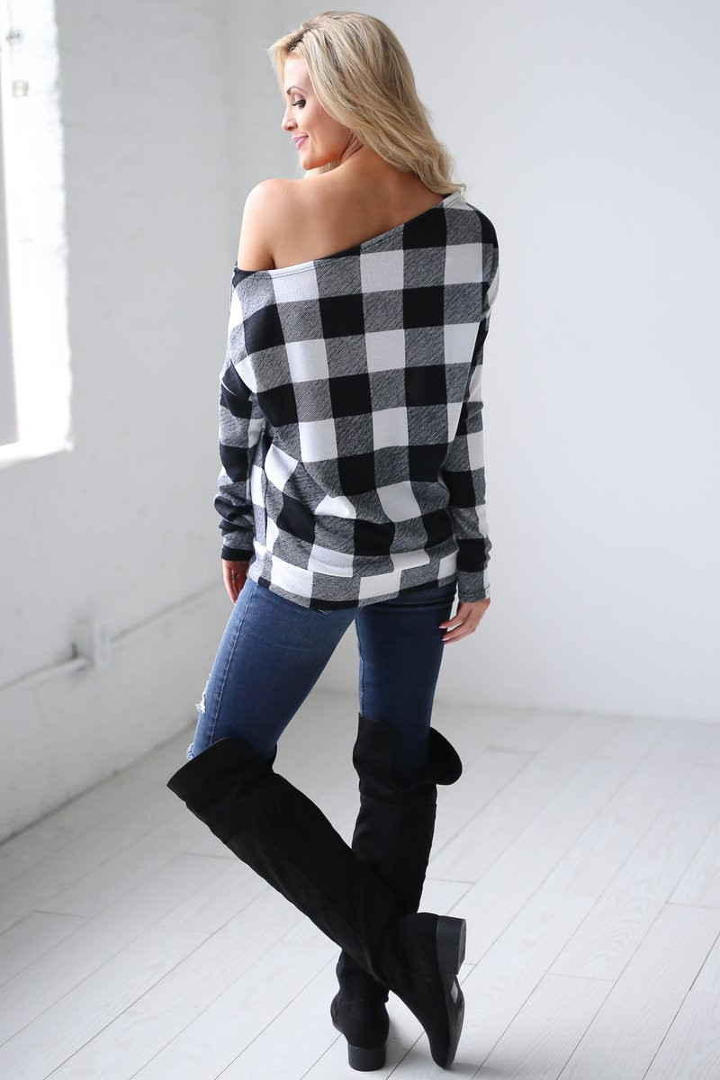 Women Off Shoulder Plaid Shirts Long Sleeve Slash Neck Lattice Sweatshirt Pullover Tops Blouse Casual Spring Autumn Clothes Tees Best