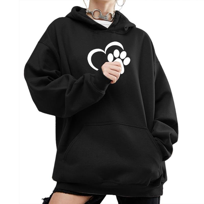 2018 New Fashion Dog Paw Print Kawaii Sweatshirt Femmes Hoodies Women Sweatshirts Harajuku Cute Corduroy Plus Size Buckle S18101006