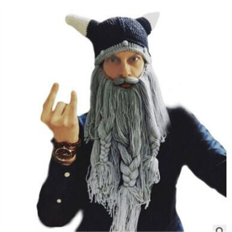 Funny Wig Beard Viking Handmade Knitted hats Winter Warm Crochet Caps Men Women Halloween Christmas Gift Party Face Mask Beanies Xmas horn