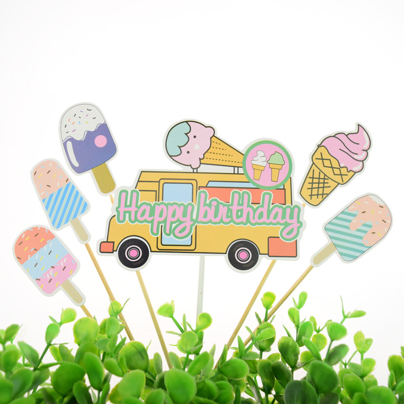 Happy Birthday Cake Toppers Flags Glitter Kids Gifts ice cream Cupcake Topper Wedding Baby Shower Party Baking DIY