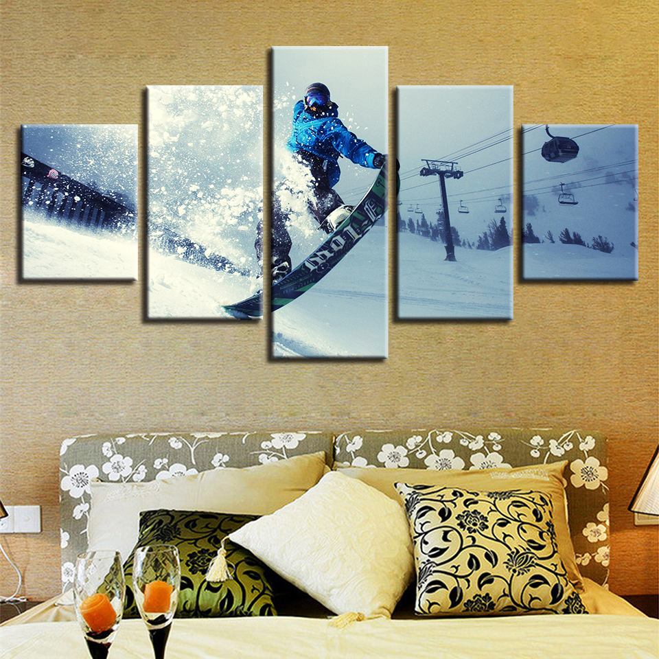 Canvas Painting Wall Art HD Printed Framework Winter Sports Skiing Pictures Modular Extreme Sports Poster Home Decor