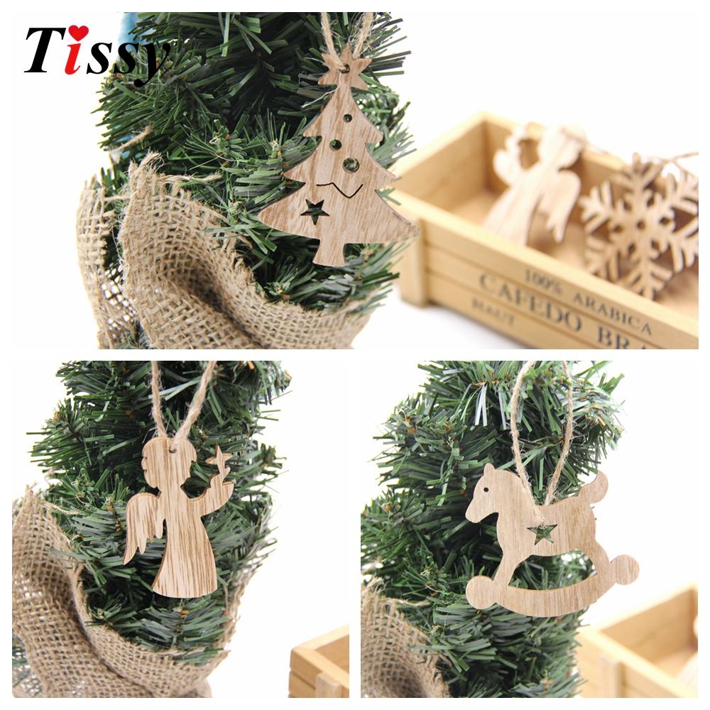 10 PCS Xmas Ornaments Christmas Wooden Pendants Decorations Christmas Gift#