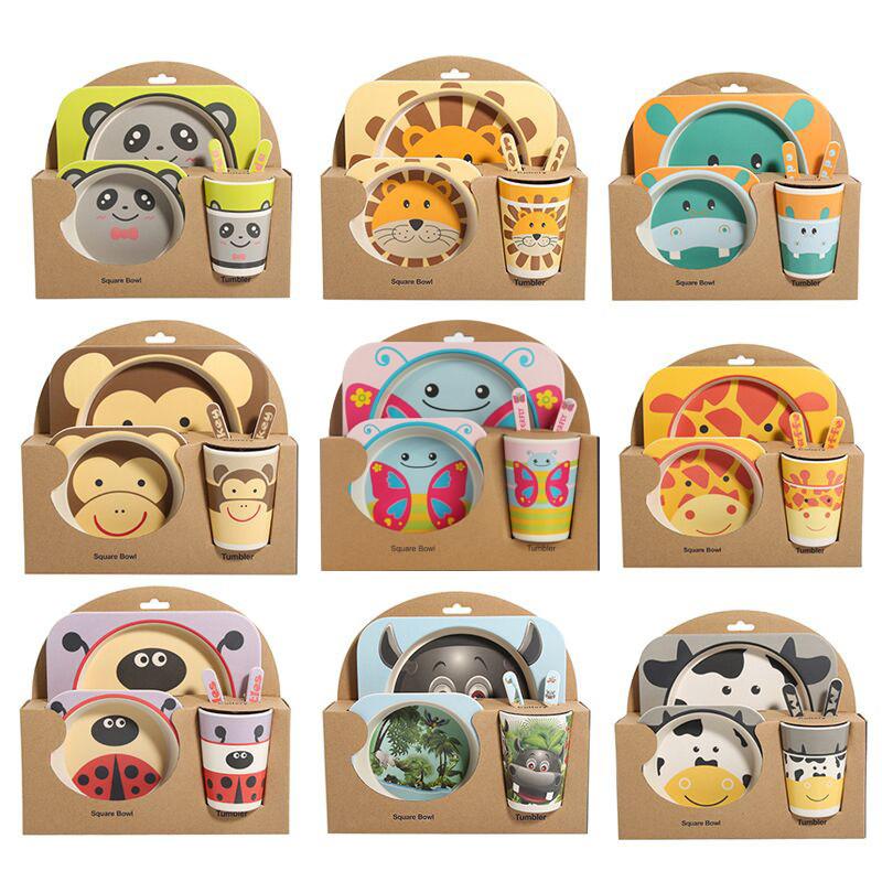 Neue 5 teile//satz Baby Affe Panda Geschirr Bambusfaser Kinder Geschirr Set Teller Gerichte Sch/üssel Mit L/öffel Cartoon F/ütterung Set Lebensmittelbeh/älter Kind Geschenk-schmetterling