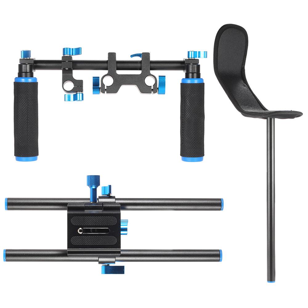 Video-Schulterhalterung Support Rig Stablizer mit 15-mm-Stange Doppel-Hand-Handgriff-Set C-förmigen Halter für DSLR-Kamera Camcorder