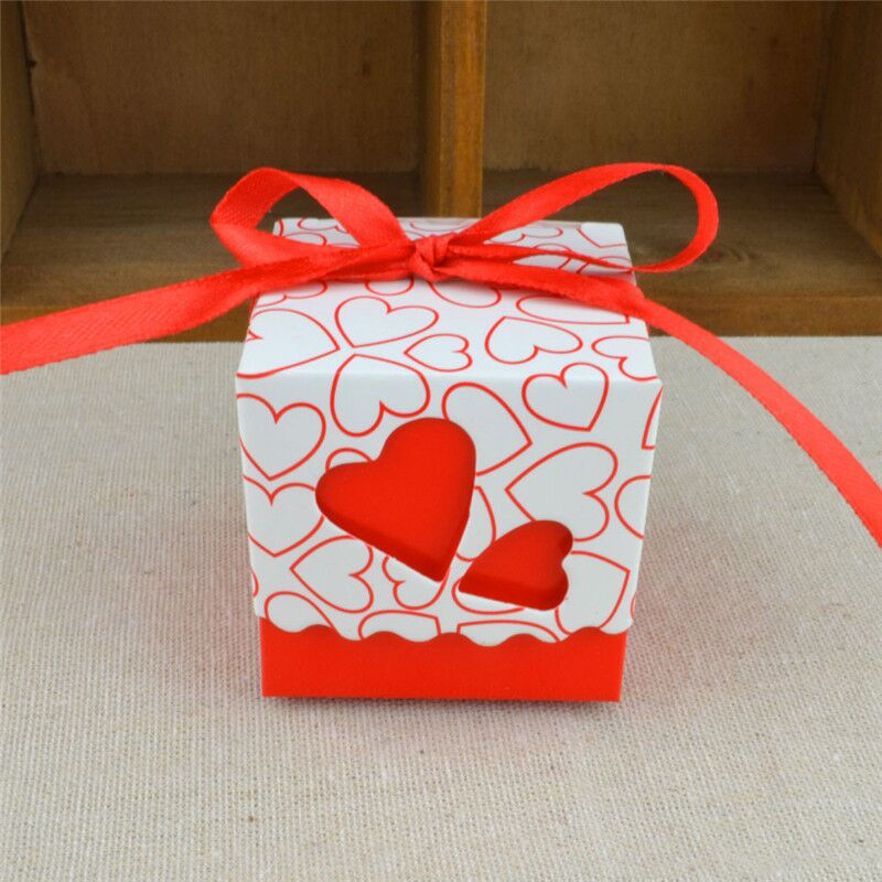 7 Cajas de Dulces de Cumpleaños de Boda de Color Doble Amor Hueco Diseño de Corazón Corte por Láser Regalos de Aceptables Regalos de Dulces Con Cinta de Fiesta Sup