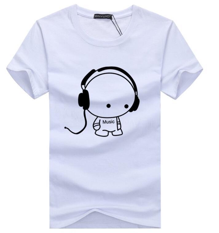 Casual Short Sleeve Graphic Tee Shirts,Love Sound Headphones Fashion Personality Customization