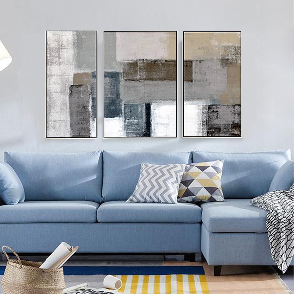 Großhandel Dekorative Leinwand Malerei 3 Stück Leinwand Wandkunst  Wandbilder Für Wohnzimmer Gelb Blau Grau Abstrakte Malerei Acryl Kunst Von  ...