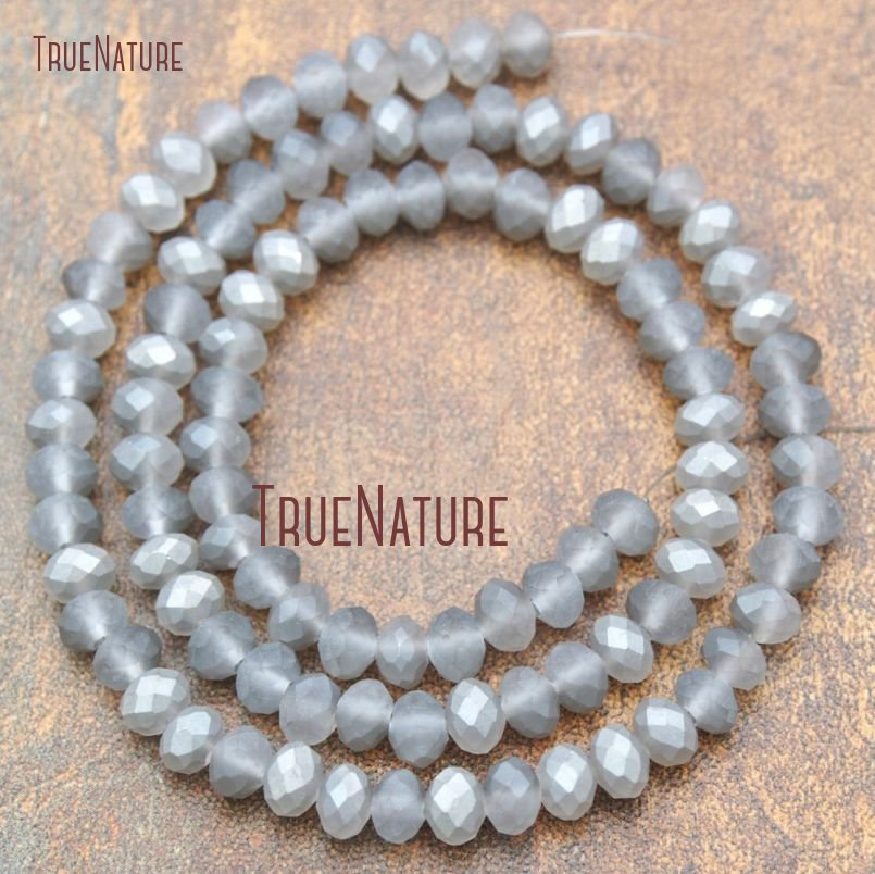 20Strand Titanium Translucent Metallic Grey Frosted Faceted Rondelle Beads Beads Glass Crystal Beads 4x6mm BE15370