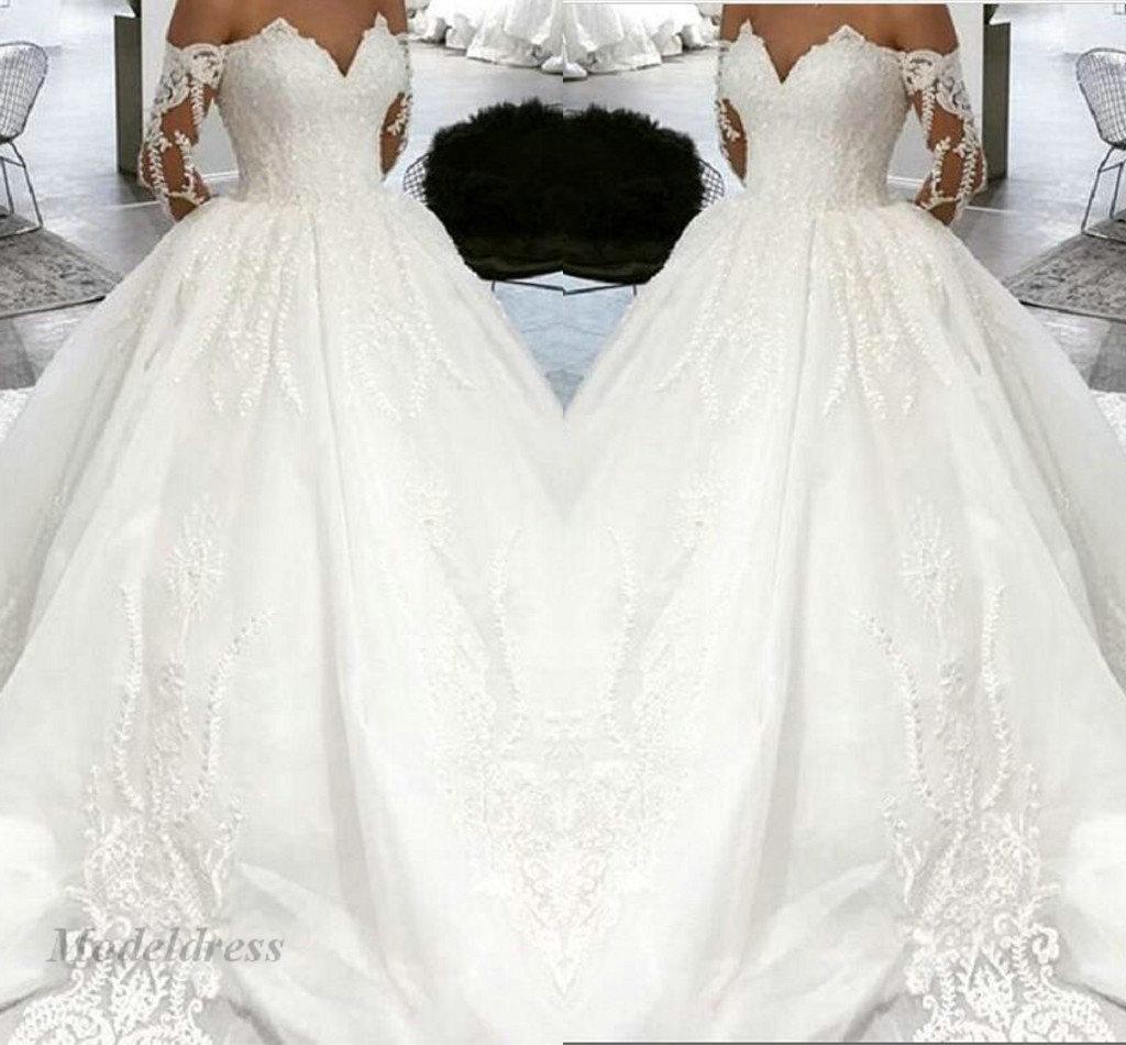 gorgeous long sleeve wedding dresses weiß weg von den schulter-oberseiten  schatz a line satin-spitze appliques special design romantische brautkleider