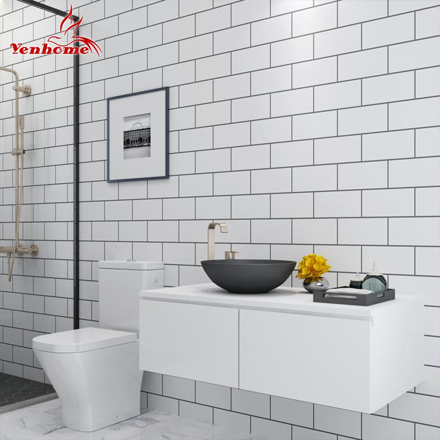 Papier Salle De Bain 5 m cuisine moderne carrelage autocollant salle de bains imperméable À  l'eau autocollant papier peint salon chambre vinyle pvc home decor wall  sticker