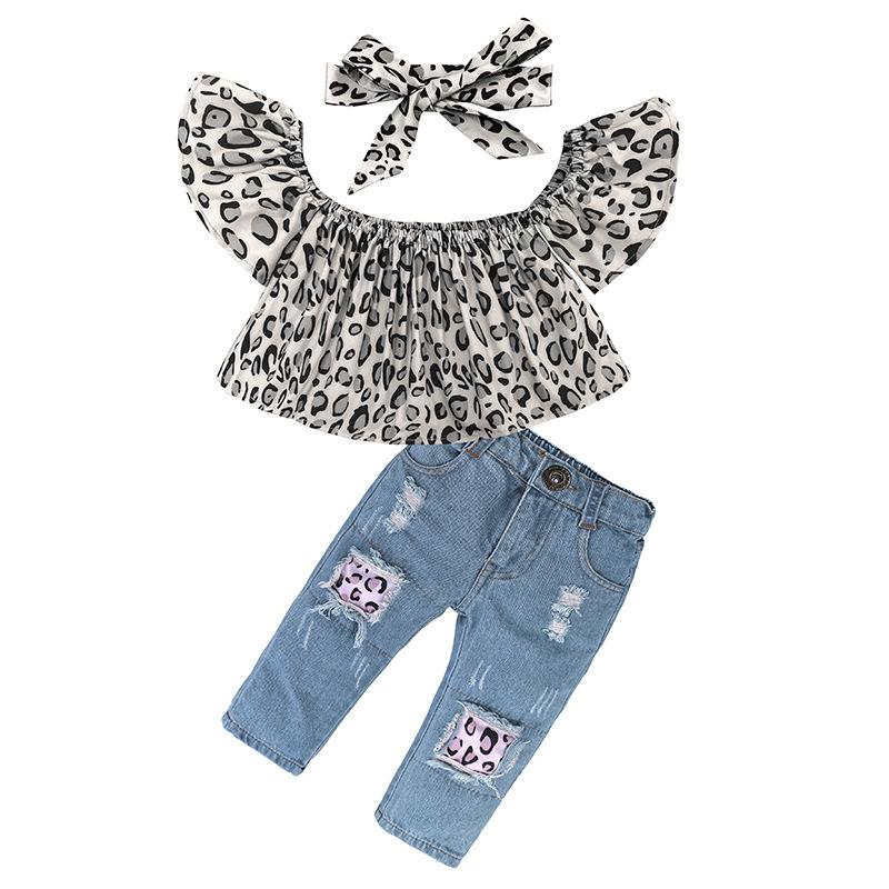 Zerrissen Denim Jeans Outfits Kleinkind Baby Kinder Mädchen Crop Top T-Shirt