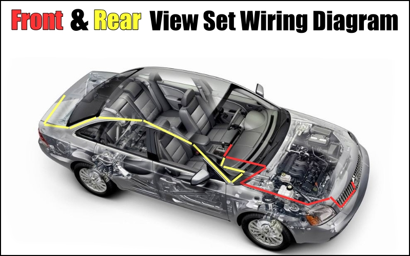 Combination Set Car Front & Rear Camera Cigarette Power Variable Channel Blind Spots Flexible Copilot Monitor Camera View System Wiring Diagram