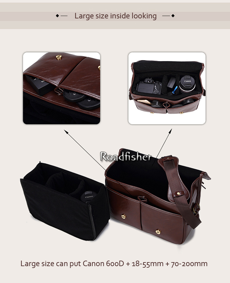 Camera leather shoulder bag 115-9