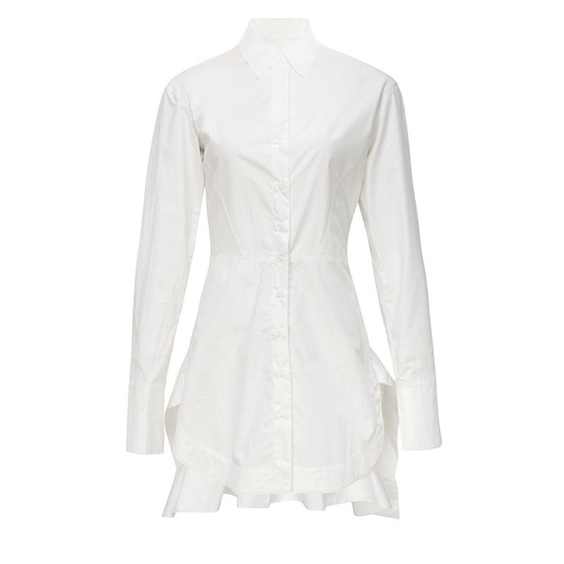 TWOTWINSTYLE White Shirt Dress For Women Long Sleeve Tunic High Waist Draped Irregular Mini Dresses Autumn Fashion OL Clothing D18110906