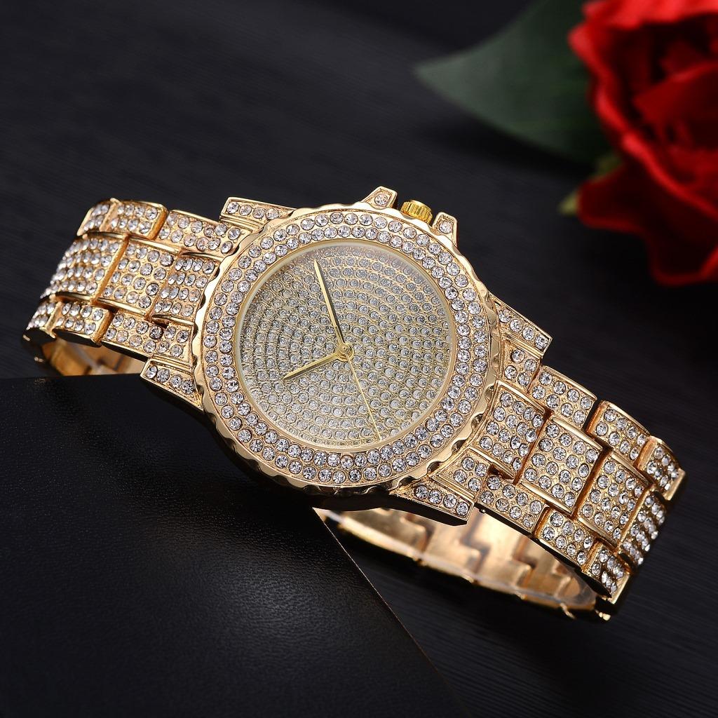 New Famous Luxury Crystal Dial Bracelet Quartz Wrist Watch Christmas Gift for Ladies Women Gold Rose Gold Silver Quartz Wristwatch