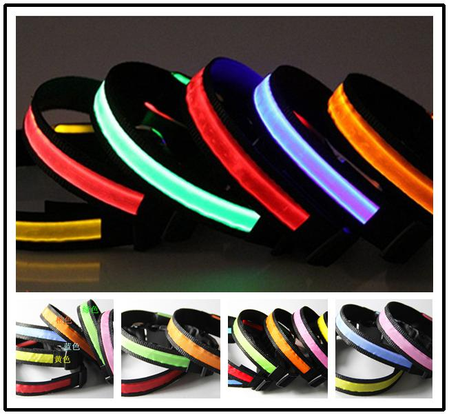 Dog Pet Glow Flashing LED Collar Necklace Leashes S M L XL TB007