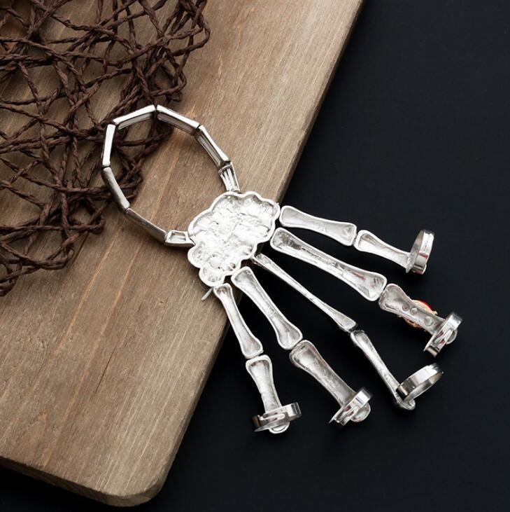 Halloween Punk Rock Skeleton Skull Hand Bone Ring Bracelet Rivet Halloween Decro Knuckle Finger Bracelet Goth Bangle Jewelry FFA1043