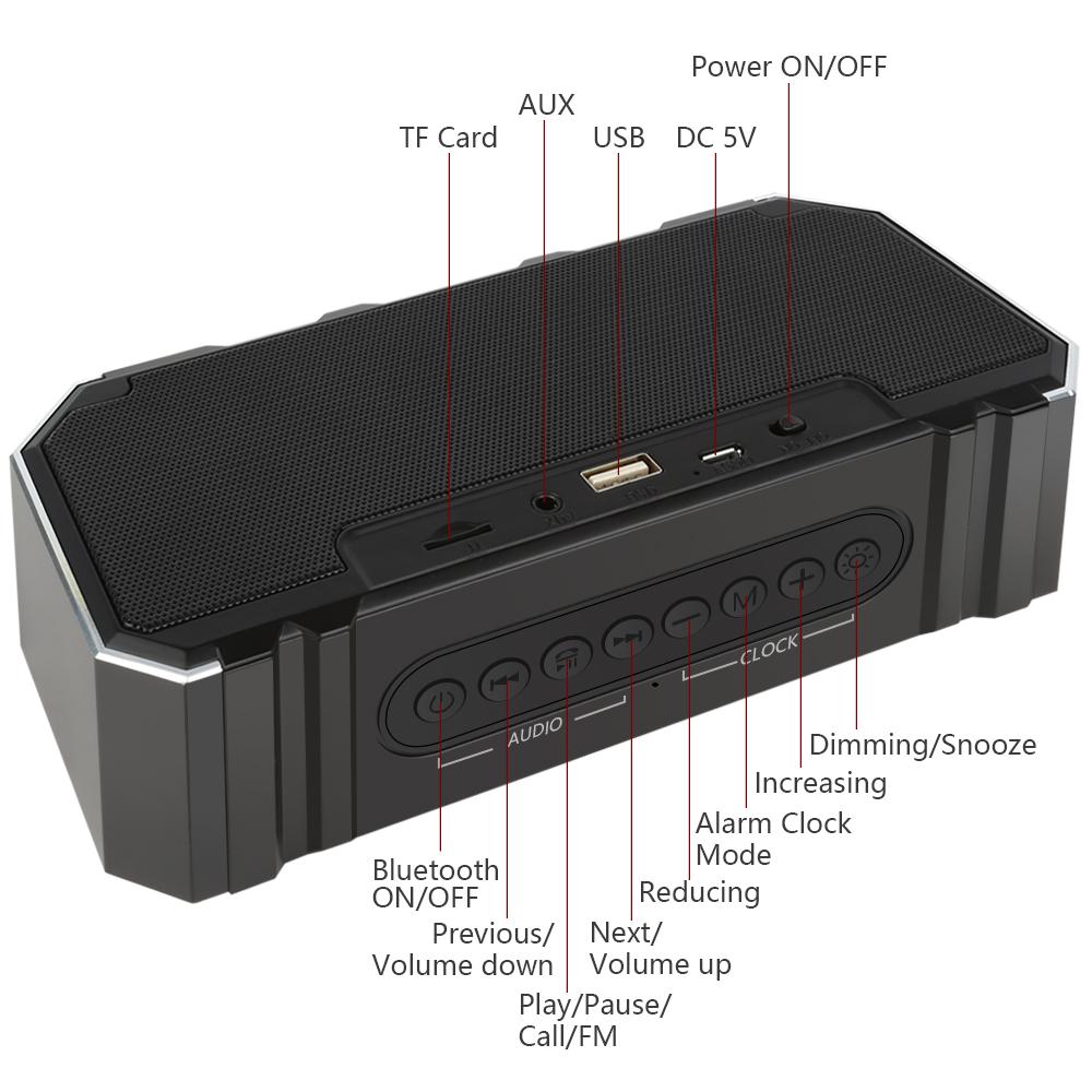 Portable Bluetooth Speaker Column Wireless Stereo Soundbox Mic Support Time FM Clock Radio Alarm LED Speaker for Laptop Phone