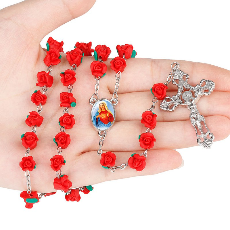 Fashion Cross Jesus Necklace With Polymer Clay Rose Flower Rosary Beads Chain And Virgin Mary Charm Catholic Christian Crucifix Necklace