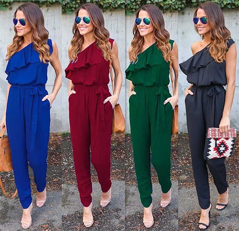 Ruffles Chiffon Jumpsuits Plus Size Overalls Summer Women Sexy Casual One Shoulder Long Playsuits Rompers Womens Jumpsuit GV608 Y1891901