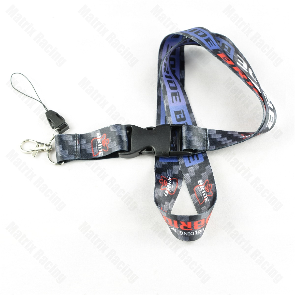 JDM Style BRIDE Cellphone Lanyard JDM Racing Car Keychain ID Holder Mobile Neck Strap with Quick Release