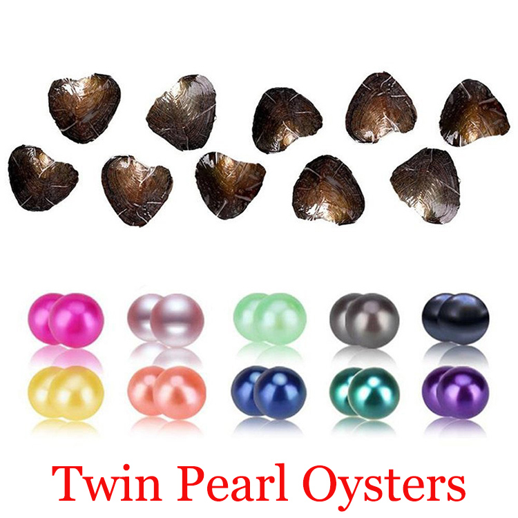 Akoya Twins Pearl Oyster 2018 Round 6-8mm 20 mix Colors Freshwater natural Cultured in Fresh Oyster Pearl Mussel Farm Supply wholesale