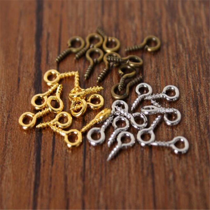 800 Pcs Small Tiny Mini Eye Pins Eyepins Hooks Eyelets Screw Threaded Peg 8MM