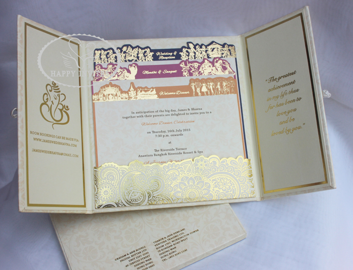HI1091 - 11 Personalized Hard Cover Gate Fold Wedding Card with Gold Foil