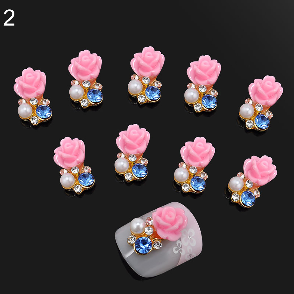 10 Pcs Faux Pearl Rhinestone Flower Nail Art Slices Stickers DIY Decorations (3)