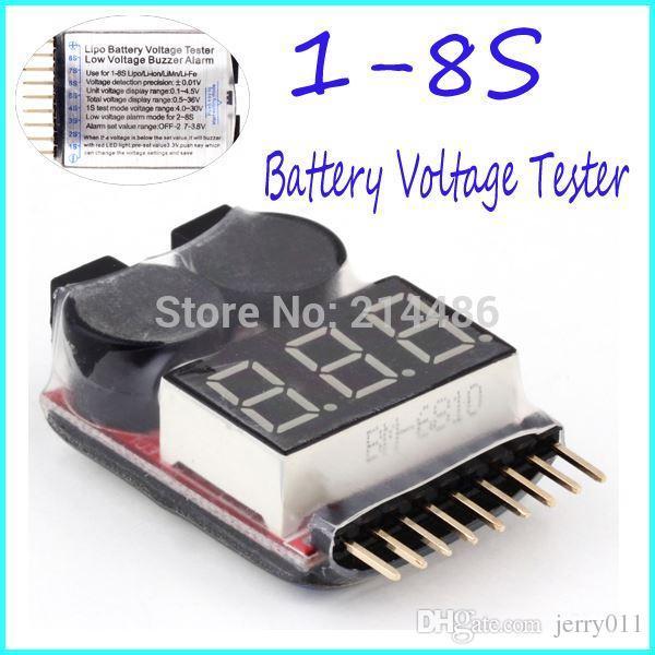 Mini BX100 Portable 1-8S Lipo Tension testeur de Batterie//Basse Tension Buzzer Alarme//Batterie V/érificateur de Tension avec Deux Haut-parleurs Noir