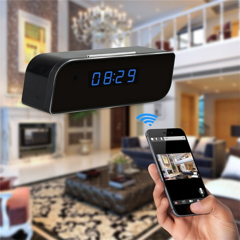 HD Wifi Alarm Clock Camera 1080P Mini Clock Security DVR Wireless Nanny Cam Surveillance Mini Camcorder for Android IOS Real-Time Viewing