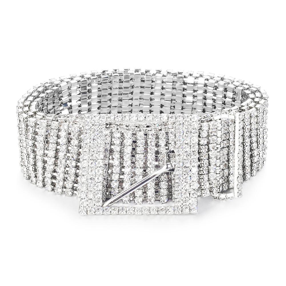 Metal Chain Belts Women Diamante Crystal Chain Belt Full Rhinestone Bride Wide Bling Female Crystal Waist Belt Shiny Waistband