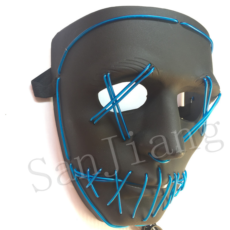 LED Halloween Ghost Masks EL Wire Slit Mouth Light Up Glowing Scary Horror Masquerade Mask Cosplay Costumes Party Full Face Masks Best Gifts
