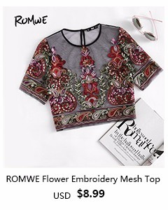 romwe-Flower Embroidery Mesh Blouse