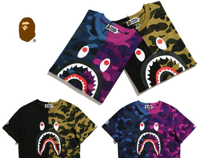 2018 Nueva Moda Diseñador de Verano Camisetas de Lujo para Hombres Tops Marca Patrón de Boca de Tiburón Ropa de Manga Corta Camiseta Para Hombre Tops Nuevas llegadas