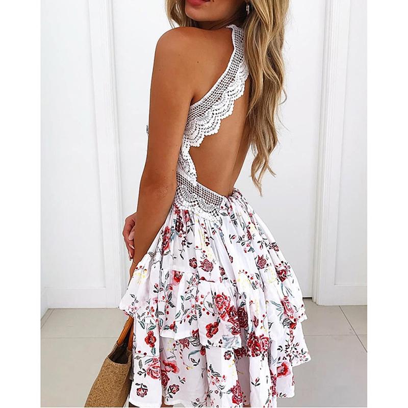 Boho Floral Print Bohemian Summer Dress Women Sundress Sexy V-Neck Sleeveless Strap Mini Dress For Women Vestidos