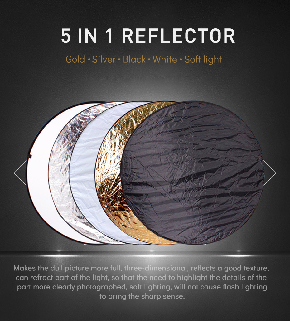 TiYiViRi 60CM 80CM 5 in 1 Collapsible Multi-Disc Light Reflector Round PhotographyPhoto Reflector with Cariing Bag for Studio (1)
