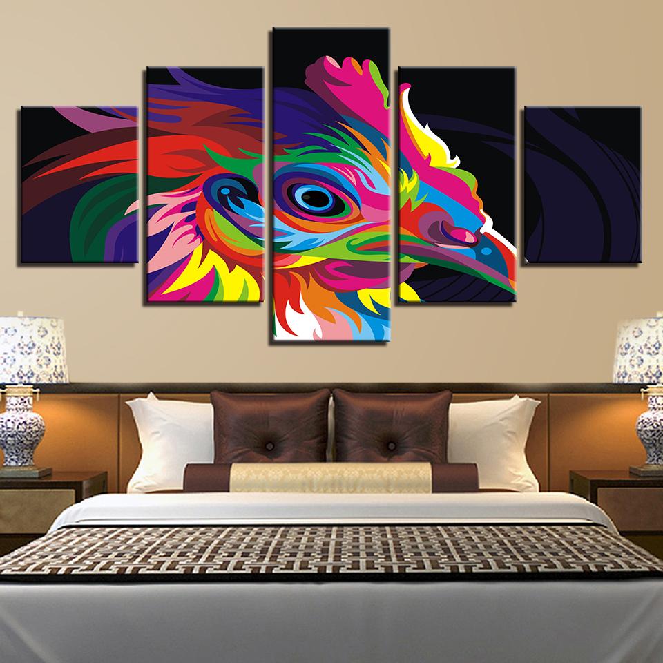 Acheter Modulaire Photos Type Moderne Affiche Aquarelle 5 Pièces Coloré Coq  Toile Peinture HD Imprimer Accueil Salon Décor Mur Oeuvre De $9.62 Du ...
