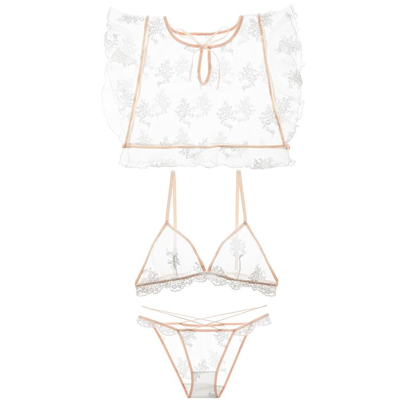 3 pz Top Bra Panty Lingerie Suit Retro Bella Ricamo di Pizzo Hollow Sottile Bra Biancheria Intima Set Sexy Indumenti Da Notte Abbigliamento Donna S1012