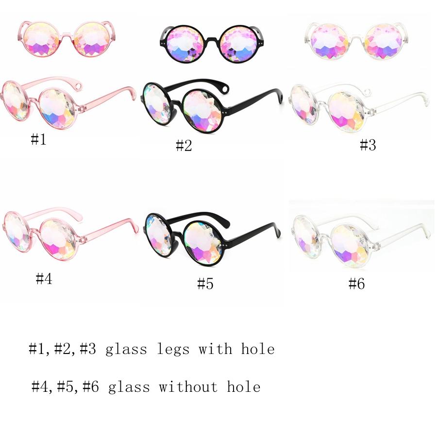 Caleidoscopio geométrico retro gafas de sol hombres mujeres gafas de sol lente arco iris gafas de sol festivo suministros de fiesta moda gafas de sol GGA1184
