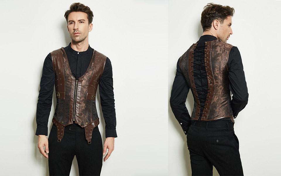 Mens Corset Steampunk Vest Shapers Brown Collar Sleeveless Steel Boned Gothic Corset Jacket Slimming Corsets For Men (9)