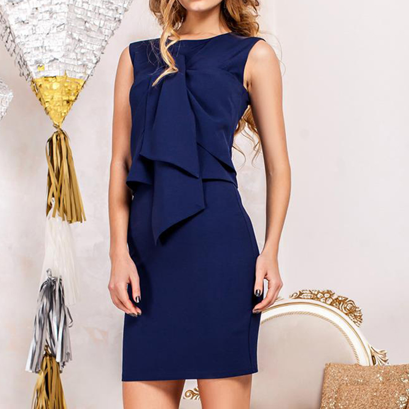 Fashion Office Dresses For Lady Two Pieces Suit O-Neck Sleeveless Bodycon Slim 2017 Summer Dress Vestidos LJ9230Y