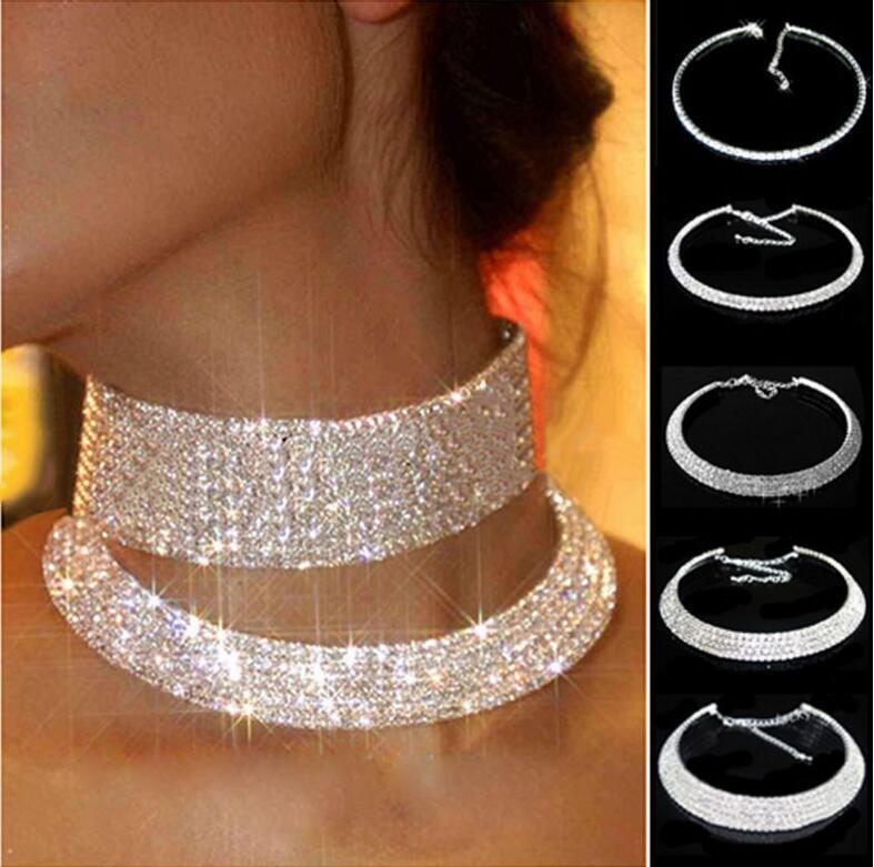 Women Crystal Rhinestone Collar Necklace Choker Necklaces Wedding Bridal Party Collar Choker Chain Necklace Crystal Choker Necklace 5 Rows