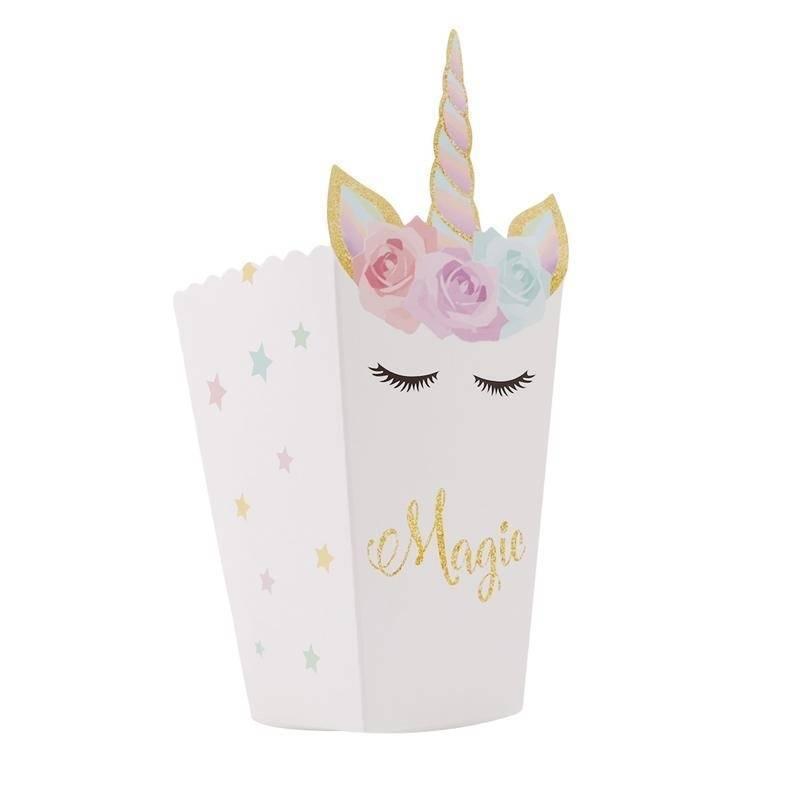 12 adet / grup unicorn Parti Patlamış Mısır Kutuları DIY Parti Dekor Unicorn Tema Patlamış Mısır Çanta Doğum Günü Partisi Dekorasyon Malzemeleri Şekeri FFA1053