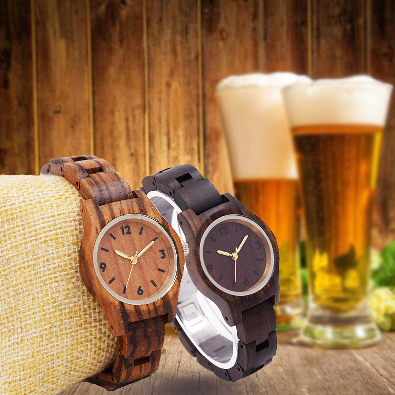 zebra Sandalwood women watches small clock quartz lady wristwatches