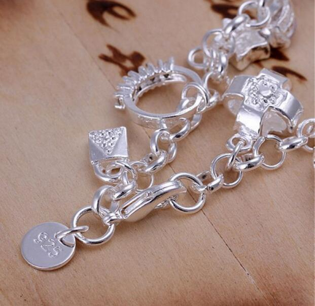 2018 New Fashion cheap plating 925 Sterling Silver CZ Crystal gemstone fashion jewelry cross moon charms Wedding bracelet