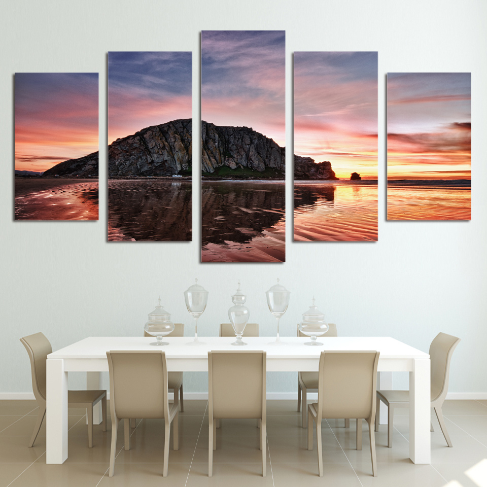 Home Decoration Paintings On Canvas 5 Panels Sunset Rock Bay Modular Vintage Pictures Wall Artwork For Living Room HD Printed